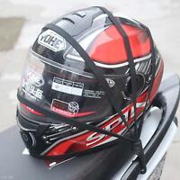 Black Motorcycle Flexible Helmet Luggage Elastic Rope Strap 2 Hooks Trendy BJC