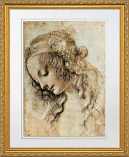 Woman's Head in Profile by Leonardo da Vinci. Framed Art Print Poster Gold Frame