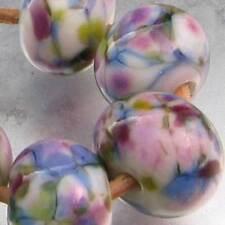 DFJ Lampwork 5 USA Handmade Frit Glass Spacer Bead ~Monet Garden ~ pink blue sra