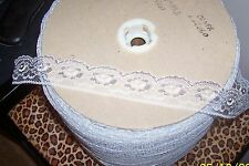 """10 Yards Lace Trim - White/Silver - 1 1/4"""" Wide - New"""