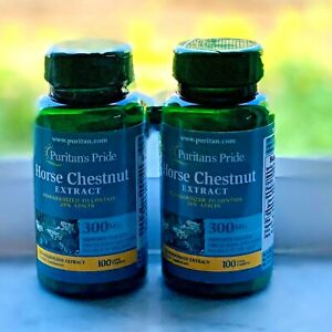 (2) New SEALED Puritans Pride Horse Chestnut Supplement 300 MG 100 Caplets Each