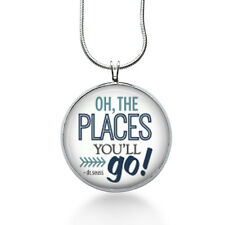 Seuss quote necklace - Oh the PLACES you'll GO- wearable art - Gifts for teacher