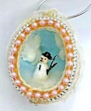 Hand Crafted Pink & White Beaded Egg Diorama w/ Snowman & Vintage Lace Accents
