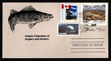 ONTARIO 0W3e 1995 SIGNED FIRST DAY COVER WALLEYE BY CURTIS ATWATER