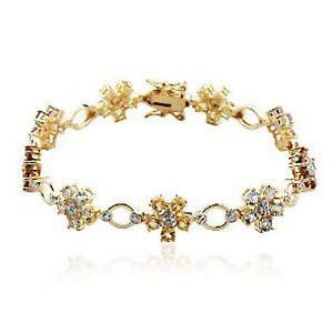 Yellow Gold Plated Silver Diamond & Gemstone Bracelet
