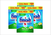 Finish 100 Powerball Super Charged All In One Dishwasher Tablets Lemon Sparkle