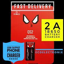FAST 2 Slot USB Battery Charger 5V 2A 1A 18650 Batteries Phone Power Bank Vape