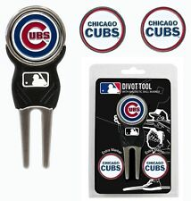 Chicago Cubs Golf Divot Tool with 3 Markers [NEW] MLB Golfing Marker CDG