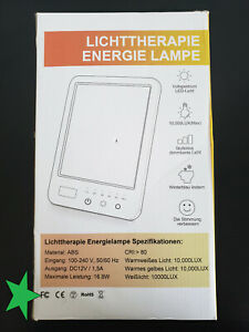 Light Therapy Lamp, LED Bright White Therapy Light - UV Free 10000 Lux