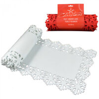 New 2Meters Christmas Table Runner Snowflakes Cutout XMAS Felt Mat Red/White