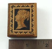 Antique Tunbridge Ware Wood Stamp Box - Queen Victoria Bust, circa 1880's