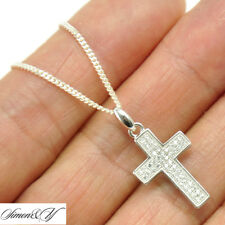Pendant Necklace Curb 040 Italy Chain Sterling Silver 925 Micro Pave Cz Cross