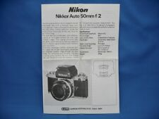 Nikon Nikkor 50mm f/2 non Ai Lens Instruction Manual / Very Nice