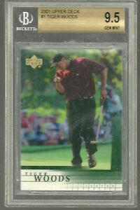 2001 Upper Deck Golf #1 Tiger Woods RC Rookie BGS 9.5 X 4 GEM MINT Perfect