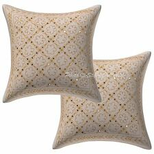 Handmade Floral Sofa Cushion Cover Gold Zari Embroidered Pillow Case Cover