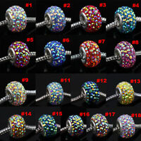 Sparkle Czech AB Crystal 925 Silver Charms Spacer Beads Fit European Bracelets