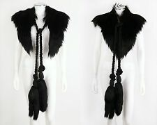 Vtg Couture VICTORIAN Black Genuine Fur Cape Stole Wrap