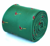 Frederick Thomas Designer Mens Tie - Emerald Green - Embroidered Pheasant Bird