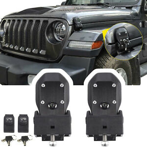 For 2018-2020 2021 Jeep Wrangler JL JLU Rubicon Hood Locking Catch Kit With Key