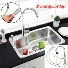Nickel Brushed Finish Pull Out Swivel Spout Home Kitchen Sink Mixer Tap Faucet