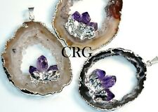 Large Silver Plated Geode Slice Pendant w/ 3 Fixed Amethyst Points (GD17BT)