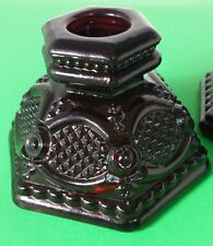 Vintage Avon Cape Cod Pattern Ruby Red Glass Candle Stick Holder Set Small Base