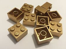 *NEW* 10 Pieces Lego BRICKS 2x2 METTALIC GOLD 3003