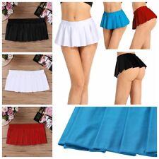 Womens Schoolgirl Costume Roleplay Ruffle Pleated Micro Mini Skirt Dance Dress