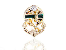 Vintage Inspired Golden Tone White Rhinestone Accented Anchor Pin Brooch Jewelry