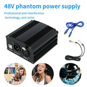 UK 48V Phantom Power Supply + 3.5 XLR USB Cable + Audio Cable for Microphone