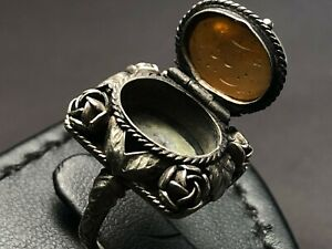 Antique Islamic 18th Century Qajar Talisman Silver Engraving Agate Ring Women