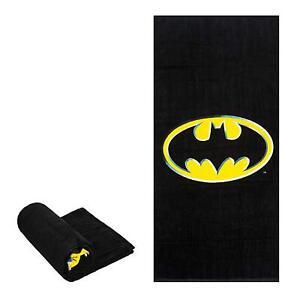 "DC Batman Logo Emblem Black Beach Towel Cotton Beach Towel Sized 58"" X 28"""