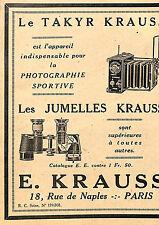 PARIS RUE DE NAPLES JUMELLES KRAUSS PUBLICITE 1924