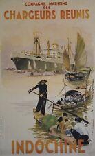 """""""CHARGEURS REUNIS / INDOCHINE"""" Affiche originale entoilée Roger CHAPELET 1952"""