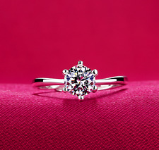 1 Ct Cubic Zirconia Silver SP Engagement Wedding Promise Ring RS23