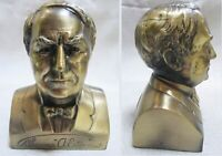 """Thomas A. Edison 5"""" brass bust doorstop, bookend, paperweight 3 lb heavy USA"""