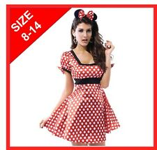 NEW ADULTS MINNIE MOUSE COSTUME FANCY DRESS - LADIES SIZE 8-14 - FREE HEADBAND