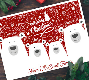 Pack of A5 Xmas Bears Personalised Family Christmas Cards Multipack & Envelopes