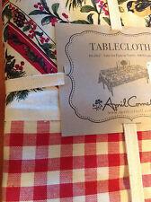 APRIL CORNELL TABLECLOTH 60 X 104 CHRISTMAS RED GREEN CREAM 100 % COTTON NIP