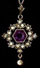 Gorgeous Antique GEORGIAN *900 Silver* AMETHYST & Paste Stone PENDANT Necklace