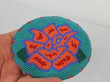Native American Shoshone Bannock  Beaded Turquoise Flower Belt Buckle