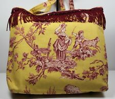 Canvas Tote Bag Victorian Style Country Farm Scene Yellow Burgundy Handmade?
