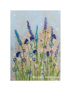 """Canvas Panel Cottage Flowers Acrylic Painting Unframed By Kenna 5""""x7"""""""