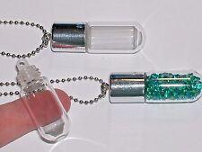 1pc Perfume vial Glass pendant tube bottle SCREW CAP top Keychain Necklace Slv