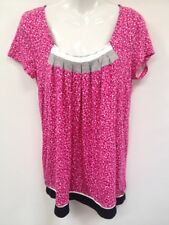 DKNY Women Clothing Hot Pink Polka Dot T'shirt Sz S