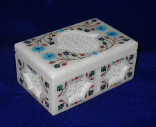 """6""""x4""""x3"""" Marble Jewelry Storage Box Cabinet Turquoise Inlay Floral Art Deco Gift"""