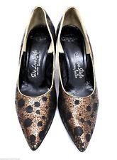 Vtg 50s Deliso Debs Pumps Womens 7.5 Pointed Toe Bronze Sequin Stiletto Heels