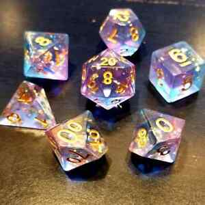 Enchanted Starlight 7 Dice Precision Edged Set RPG DnD Dungeons Dragons d20 AD&D