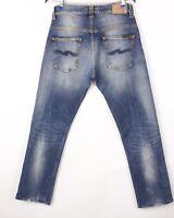 Nudie Jean Hommes Mince Finn Slim Jeans Extensible Taille W33 L30 BBZ598