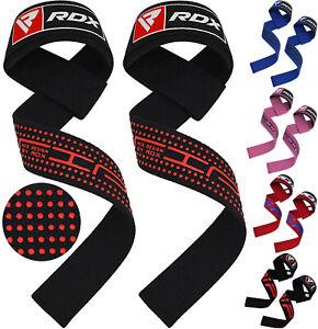 RDX Weight Lifting Wrist Straps 5mm Support Hand Bar Wraps Gym Training Deadlift